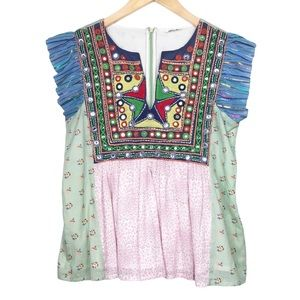 Manoush Embroidered Flutter Sleeve Peasant Top